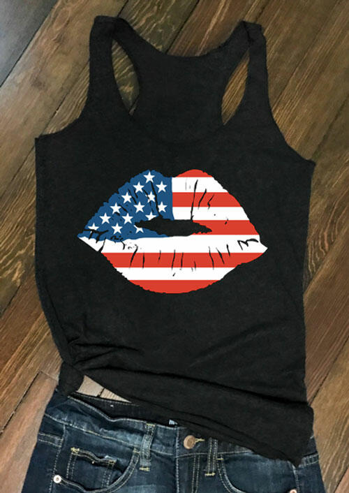 Tank Tops American Flag Lips Casual Tank - Black. Size: S,XL фото