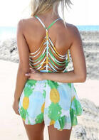 Summer Outfits Pineapple Ruffled Hollow Out Romper
