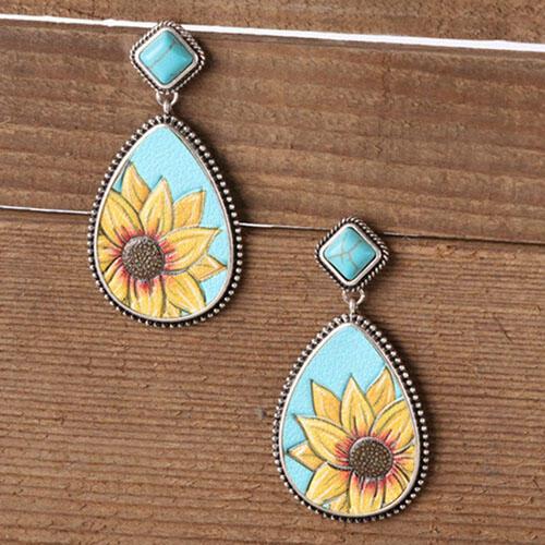 Sunflower Turquoise Water Drop Shaped Earrings фото