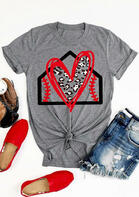 Summer Outfits Women Leopard Baseball Love Heart T-Shirt Tee