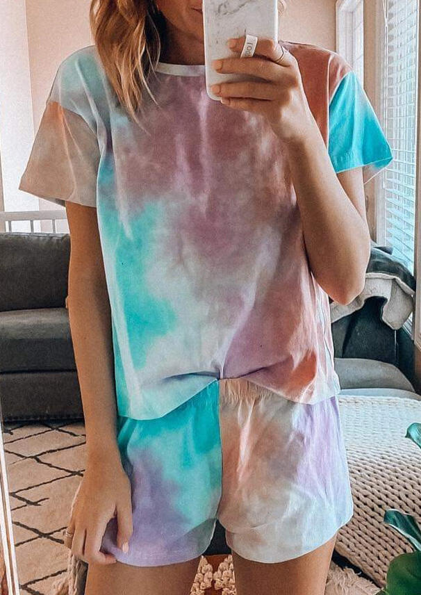 Presale - Tie Dye T-Shirt Tee And Shorts Pajamas Set, Multicolor, 469389
