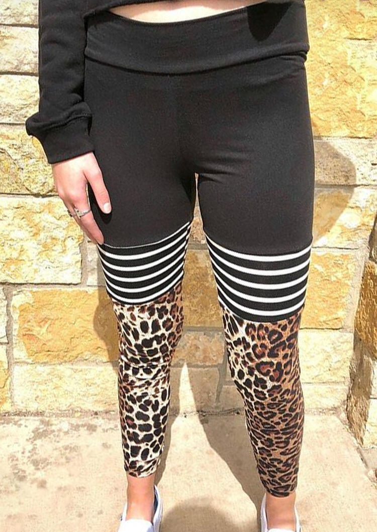 Activewear Presale - Striped Leopard Printed Splicing Yoga Activewear Leggings - Black. Size: S,M,,XL