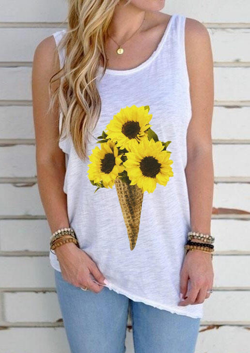 Tank Tops Sunflower Ice Cream Open Back Tank without Necklace - White. Size: S,M,L,XL фото