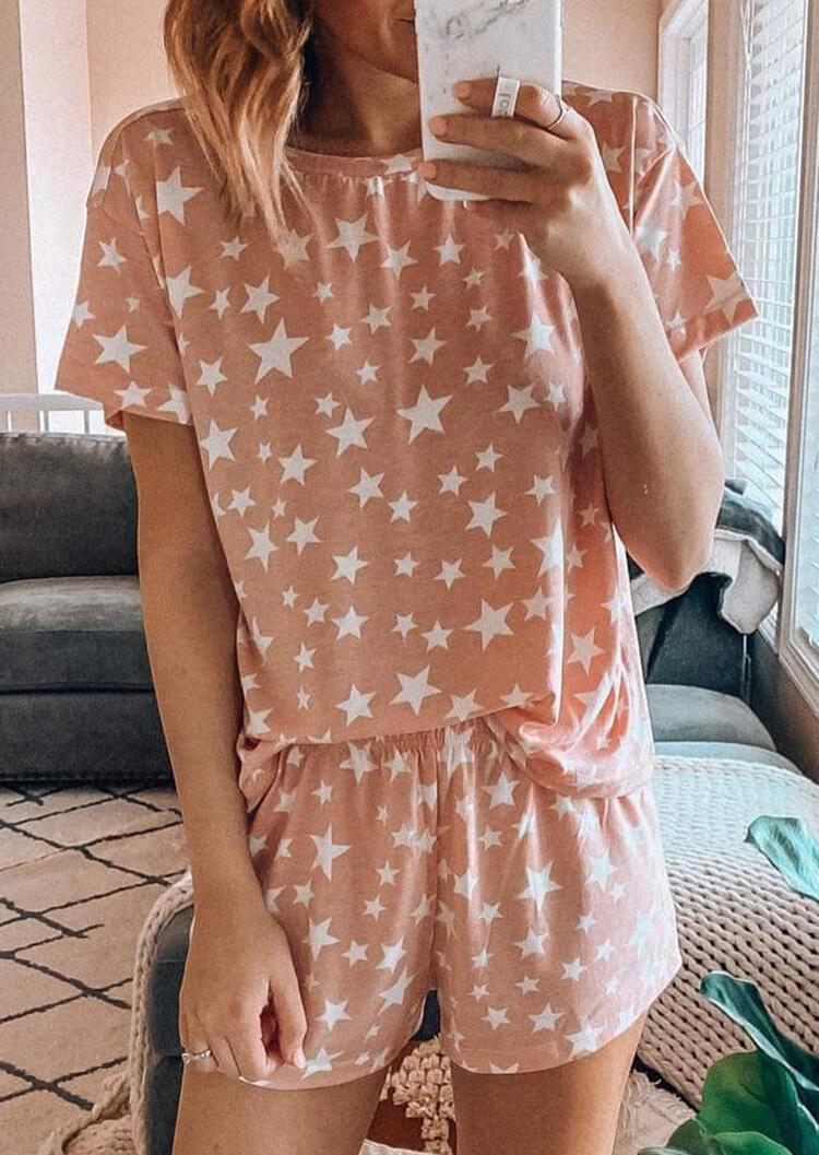 Star Printed T-Shirt Tee And Shorts Pajamas Set фото