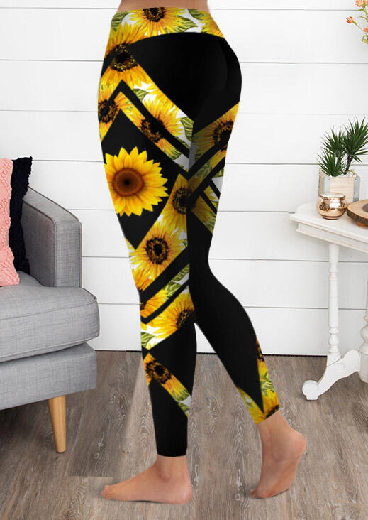 Activewear Sunflower Yoga Fitness Sports Activewear Leggings in Black. Size: S,M,L,XL,2XL,3XL фото