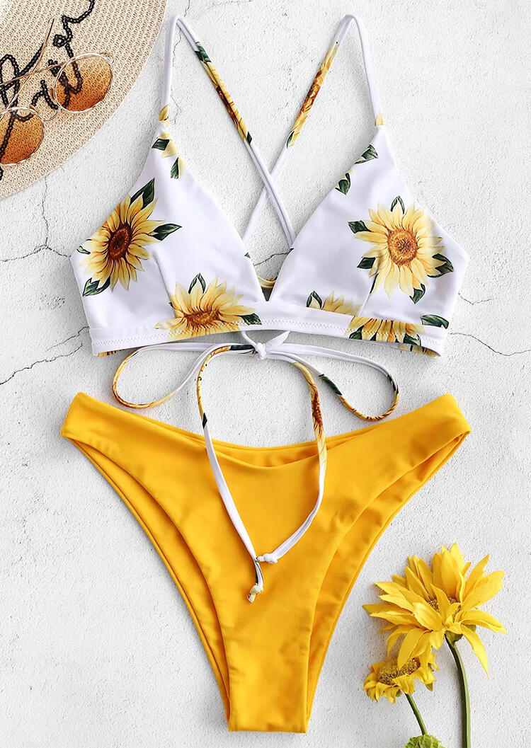 Sunflower Criss-Cross Tie Bikini Set - Yellow фото