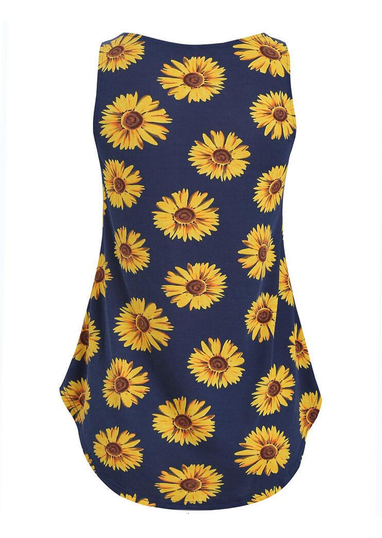 Sunflower Button Casual Tank - Navy Blue