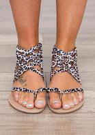 Leopard Summer Cross-Tied Zipper Flat Sandals