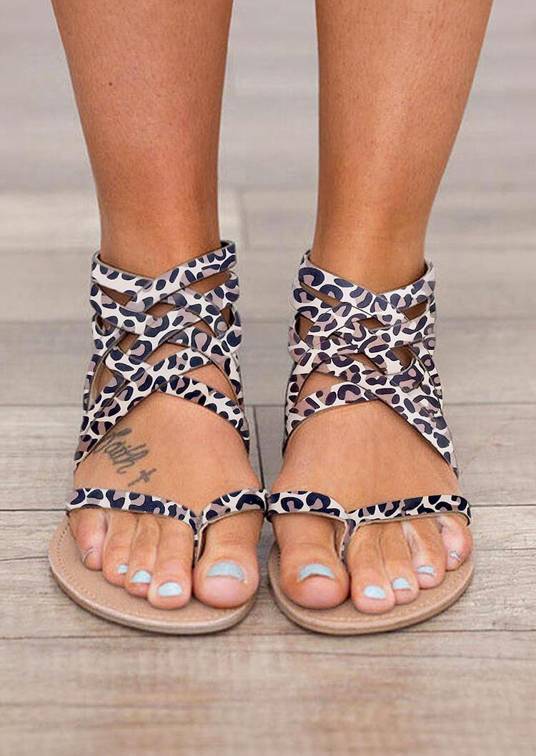 Leopard Summer Cross Tied Zipper Flat Sandals