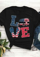 Women Summer Outfits American Flag Love T-Shirt Tee