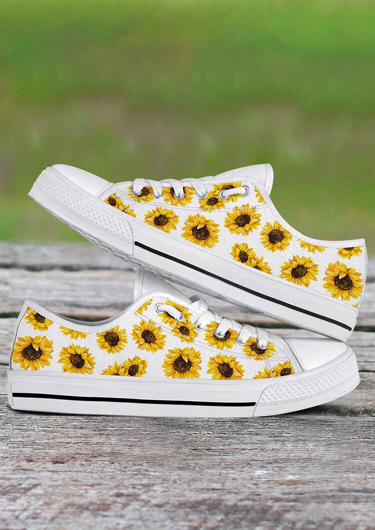 Sunflower Lace Up Flat Sneakers - White фото