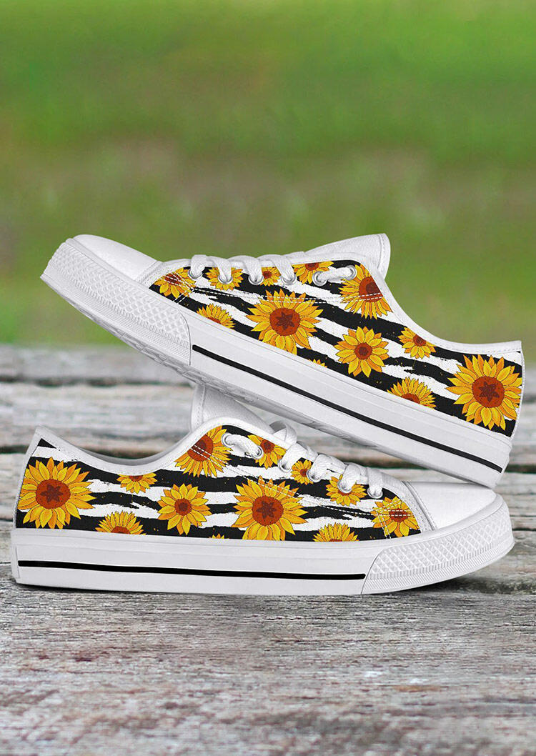 Sneakers Sunflower Lace Up Flat Sneakers - White. Size: 37,38,39,41 фото