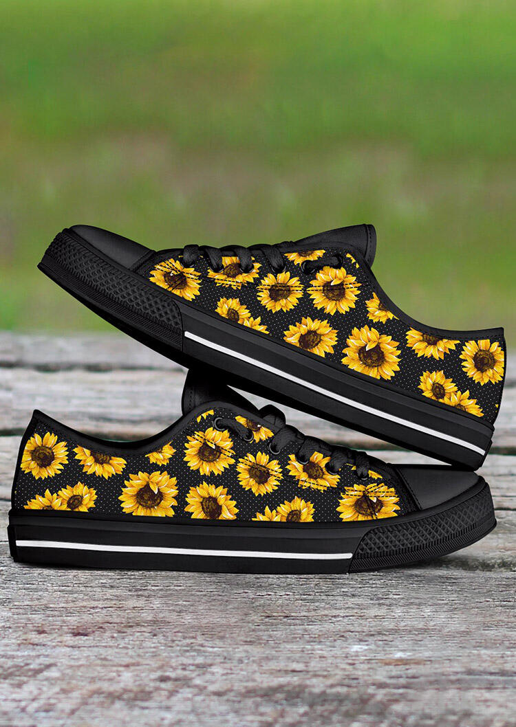 Sunflower Lace Up Flat Sneakers - Black фото