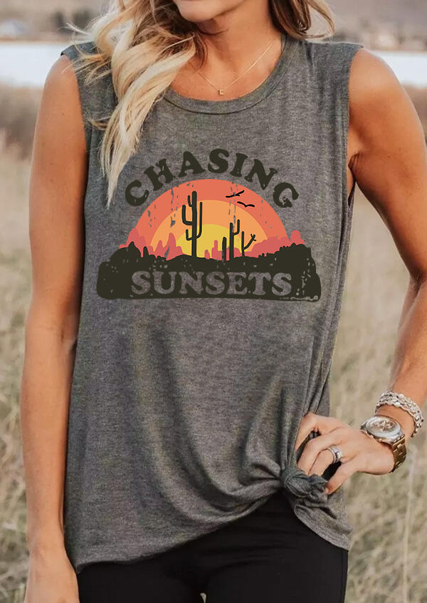 Chasing Sunsets Cactus Tank - Dark Grey фото