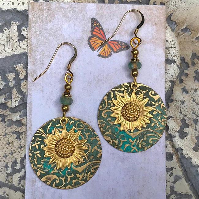 Vintage Sunflower Alloy Earrings фото
