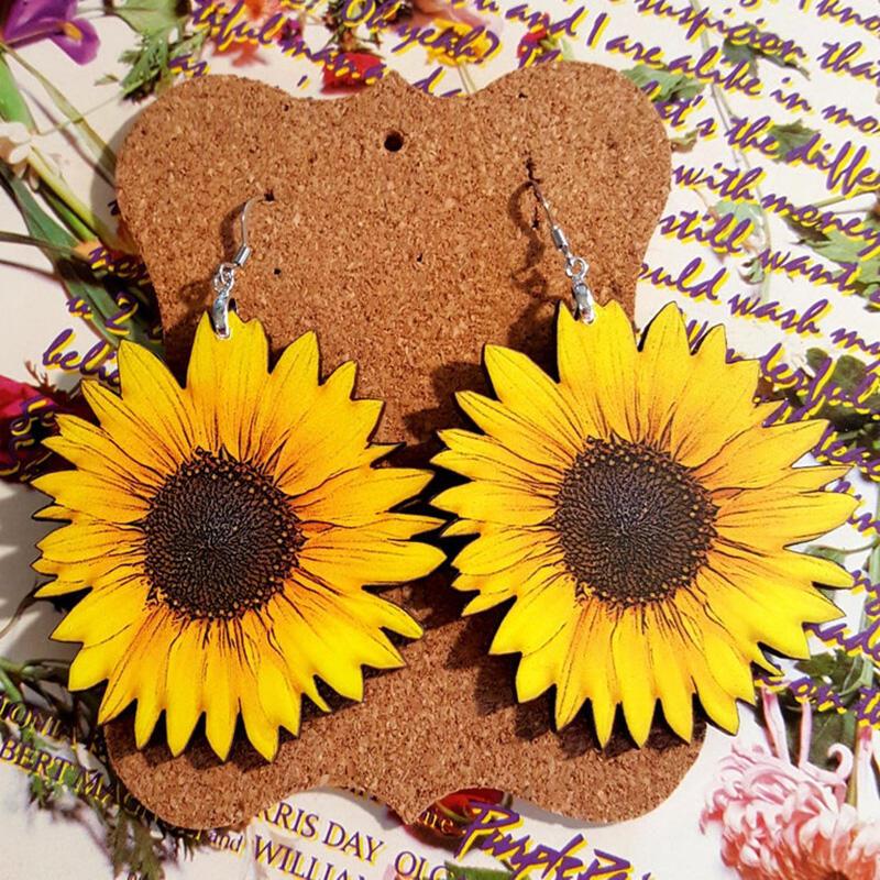 Sunflower Wooden Earrings фото