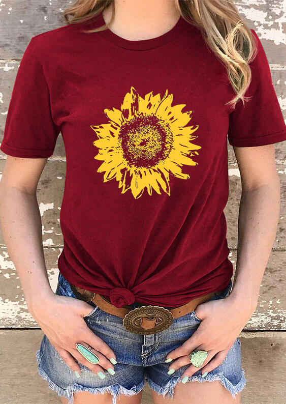 Sunflower O-Neck T-Shirt Tee