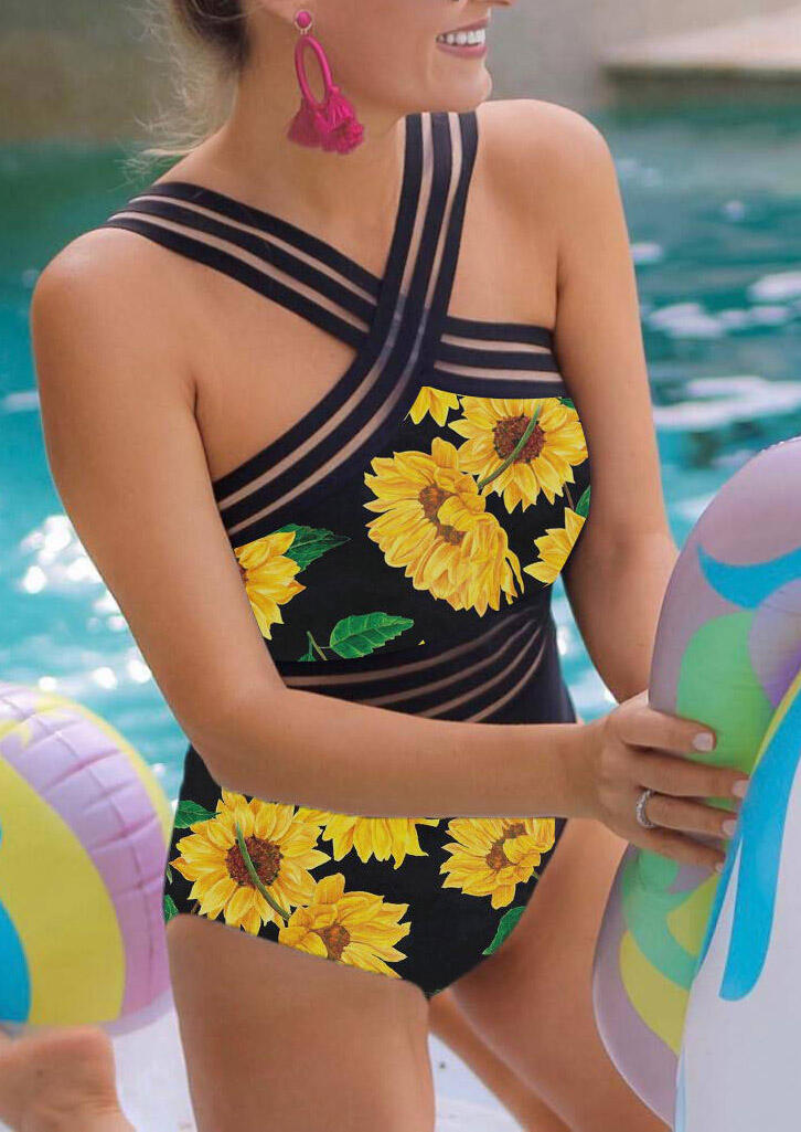 One-Pieces Sunflower Mesh Splicing One-Piece Swimsuit - Black. Size: S,M,L фото
