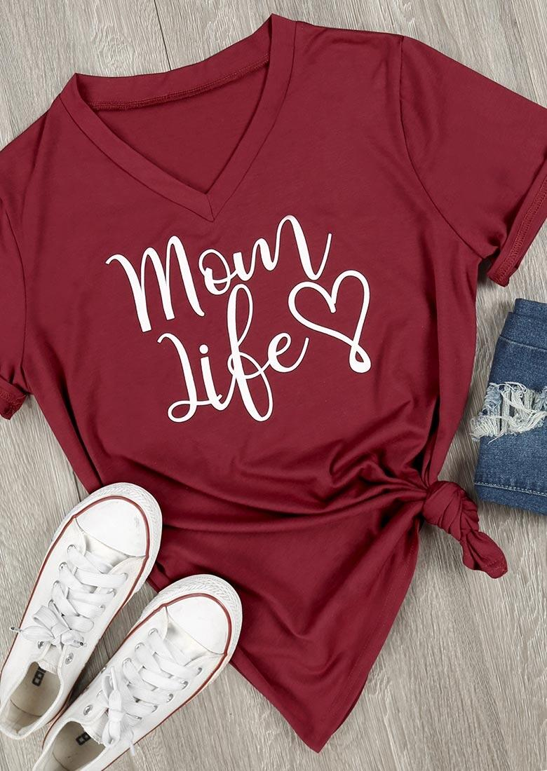 Tees T-shirts Mom Life Heart V-Neck T-Shirt in Gray. Size: S,M,XL фото