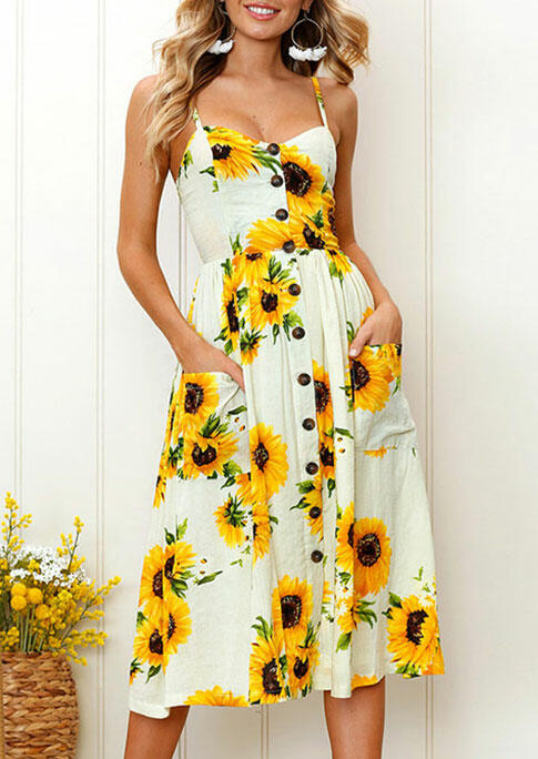 Sunflower Spaghetti Strap Casual Dress