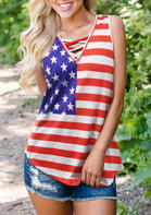 Summer Outfits Casual American Flag Criss-Cross Tank