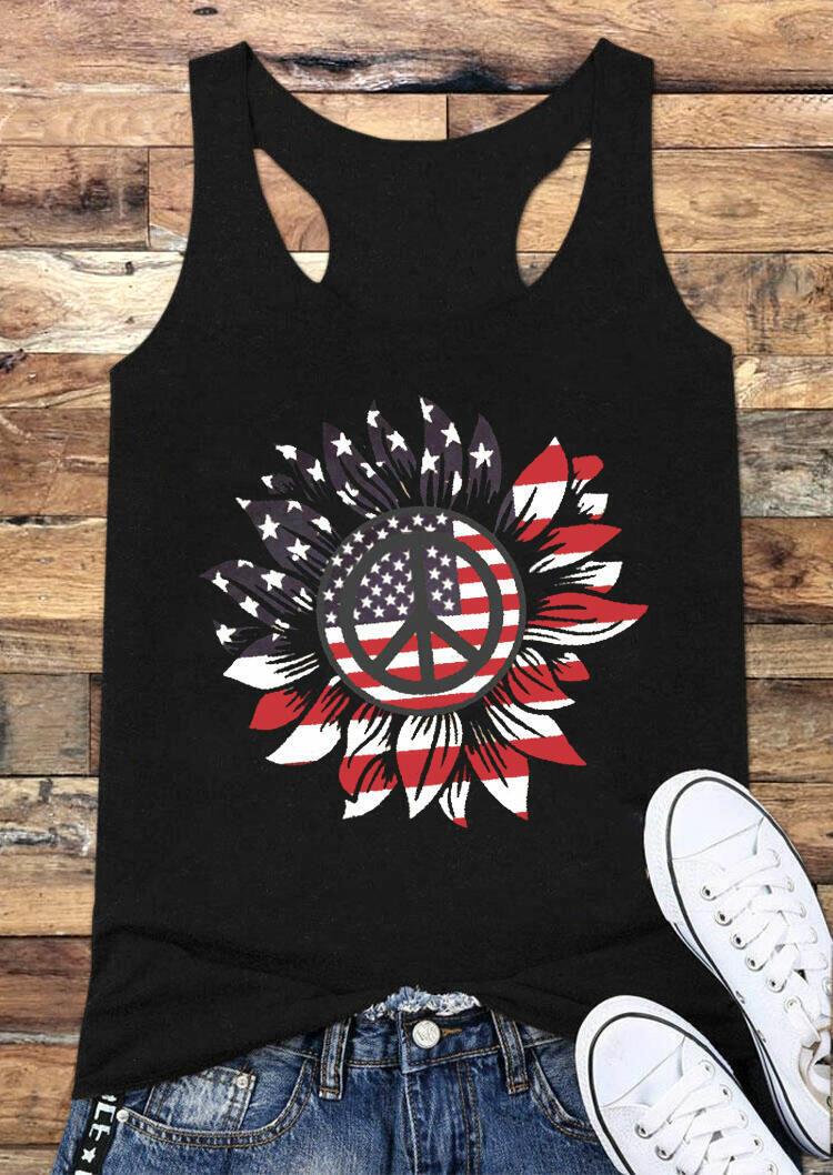Sunflower American Flag Tank - Black фото