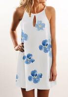 Floral Hollow Out Halter Mini Dress