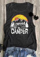 Happy Camper Casual Tank - Dark Grey