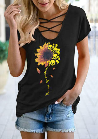 Sunflower Skull You Are My Sunshine T-Shirt Tee - Black