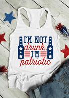 I'm Not Drunk I'm Patriotic Star Casual Tank - White