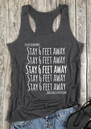 Stay 6 Feet Away Casual Tank - Gray