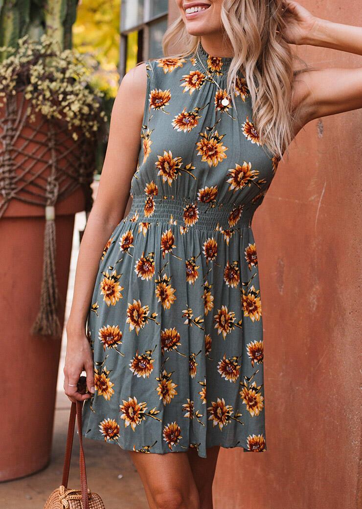 Mini Dresses Sunflower Ruffled Mini Dress without Necklace - Gray. Size: S фото