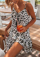 Summer Outfits Leopard Tie V-Neck Spaghetti Strap Mini Dress