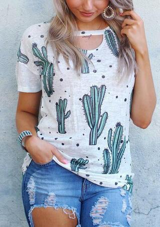 Cactus Hollow Out T-Shirt Tee - Light Grey