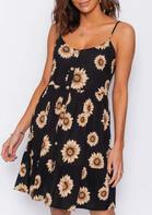 Summer Outfits Sunflower Button Spaghetti Strap Mini Dress