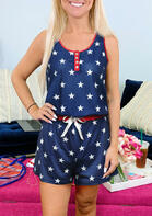 Summer Outfits Button Star Independence Day Tank and Tie Shorts