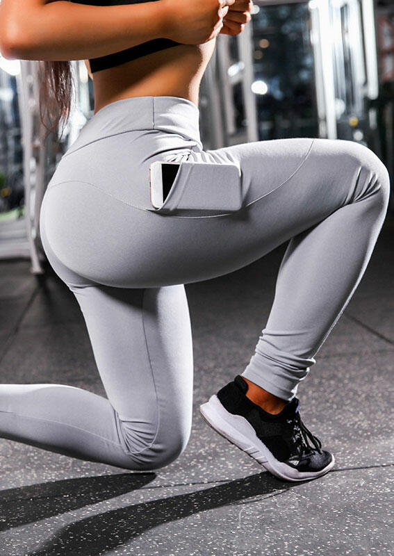Activewear Pocket Fitness Activewear Leggings in Gray. Size: S фото