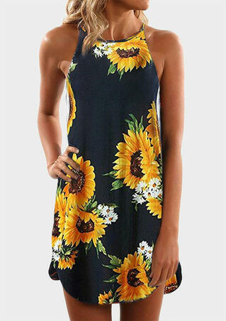 Sunflower Spaghetti Strap Mini Dress - Deep Blue