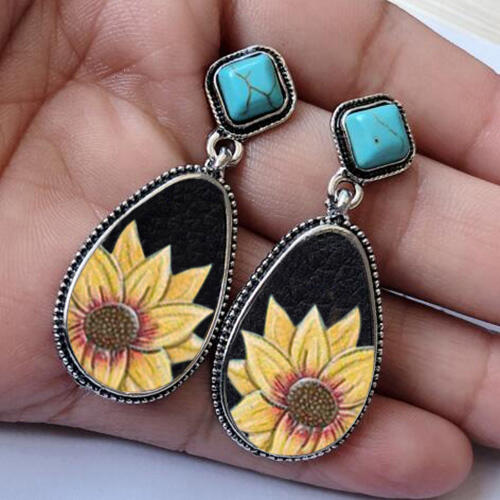 Fairyseason coupon: Sunflower Turquoise Water Drop Shaped Earrings