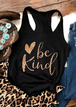 Be Kind Leopard Heart Tank - Black