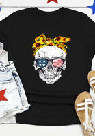 Summer Outfits Sunflower American Flag Skull T-Shirt Tee