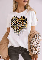 Summer Outfits Leopard Star Heart American Flag T-Shirt Tee