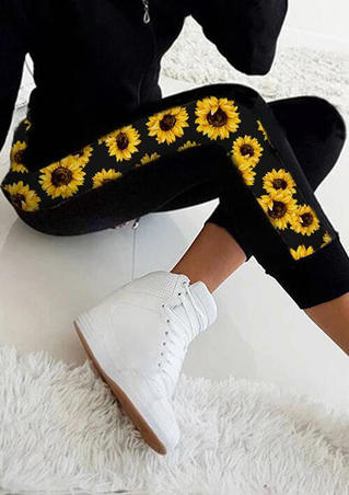 Sunflower Splicing Sports Leggings - Black