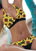 Sunflower Splicing Halter Bikini Set - Yellow