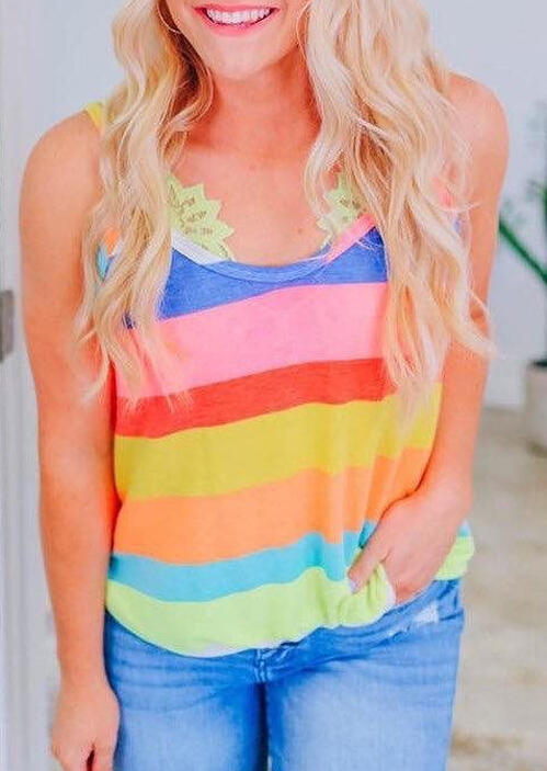 Tank Tops Colorful Striped Camisole without Lace Lingerie in Multicolor. Size: S,M,L фото
