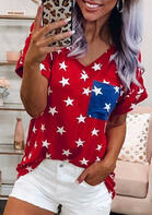 Summer Outfits Star Pocket V-Neck T-Shirt Tee