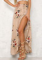 Floral Irregular Slit Tie Long Skirt - Khaki