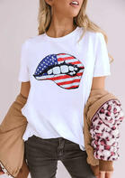 Summer Outfits American Independence Day Flag Lips T-Shirt Tee