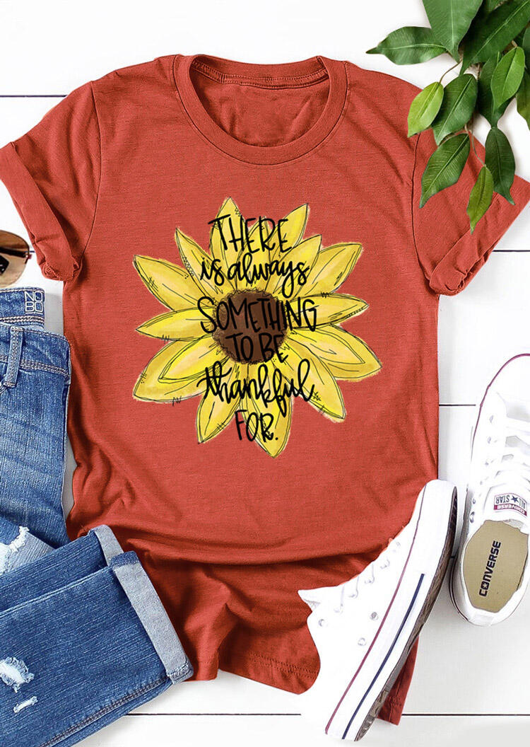 Sunflower Something To Be Thankful For T-Shirt Tee - Brick Red фото