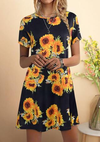Sunflower O-Neck Mini Dress - Black